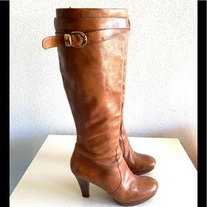 Via spiga women's brown tall leather boots size 10